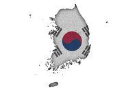 Karte und Fahne von Südkorea auf Filz - Map and flag of South Korea on felt