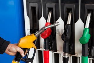 Gasoline station fuel pumps