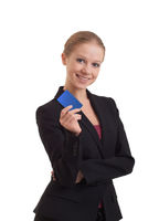 business woman with a banking card