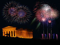 fireworks with greek Temple