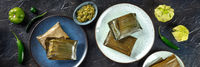Tamales oaxaquenos panorama, traditional dish of the cuisine of Mexico