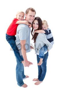 Merry family enjoying piggyback ride against a white background