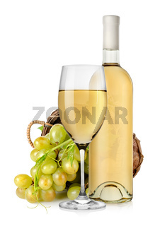 White wine bottle and grapes in basket