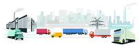 Factory and truck transport, industry illustration