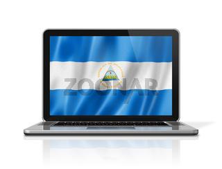 Nicaragua flag on laptop screen isolated on white. 3D illustration