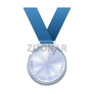 Champion silver medal with with a concentric circle texture pattern and blue ribbon.