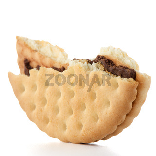 Half sandwich biscuit with chocolate filling
