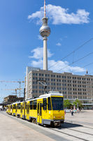Berlin Alexanderplatz with streetcars and TV Tower
