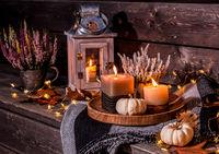 Beautiful autumn terrace decoration with pumpkins