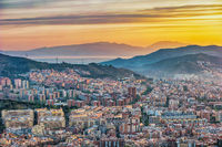 Barcelona Spain, high angle view sunrise city skyline from Bunkers del Carmel