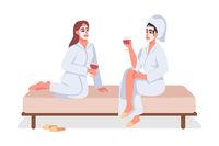 Women at spa semi flat color vector characters
