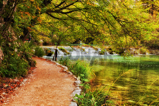 Autumn Landscape With Path By The Lake