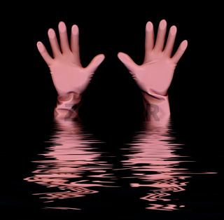 pink-coloured rubber gloves, drowning