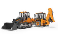 3d rendering orange road equipment loader excavator and crawler excavator on white background with shadow