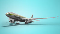 Gray turbocharged plane takes off left view 3d render on blue background with shadow