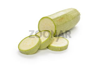 zucchini on white background with soft shadow