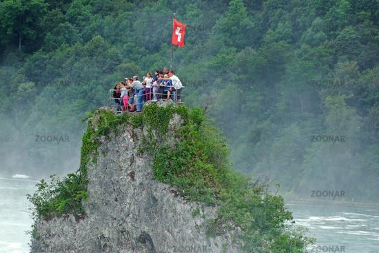 Rock at the Rhine falls in Switzerland