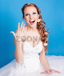 Beautiful blond bride photo in studio