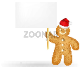 Gingerbread Man With Blank Gift Tag And Santa Hat
