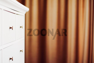 White dresser in bedroom, furniture and home decor