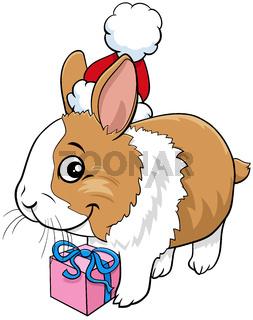 cartoon bunny animal character with gift on Christmas time