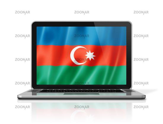 Azerbaijani flag on laptop screen isolated on white. 3D illustration