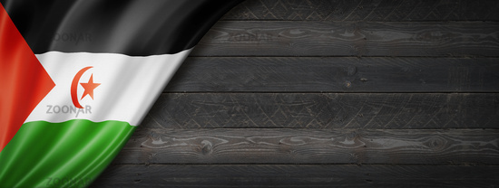 Sahrawi flag on black wood wall banner