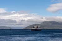 ferry leaving the Bogenes ferry landing for the Lofoten Islands in northern Norway