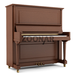 brown piano isolated on white background