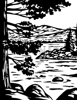 WPA Monochrome Art Emerald Bay State Park in South Lake Tahoe California Usa Grayscale Black and White