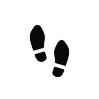 Man's footsteps in shoes, simple black icon on white