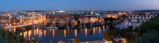 Panoramic night view of River Vltava and the old town of Prague, Czech Republic