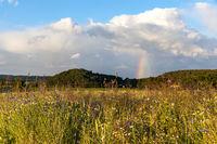 das Selketal im Harz Landschaftsaufnahme mit Regenborgen im Sommer