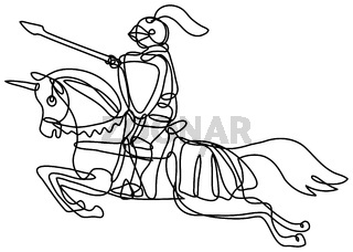 Medieval Knight With Lance and Shield Riding Stead Continuous Line Drawing