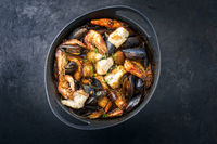 Traditional French seafood bouillabaisse with fish