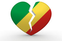 Broken white heart shape with Republic of the Congo flag