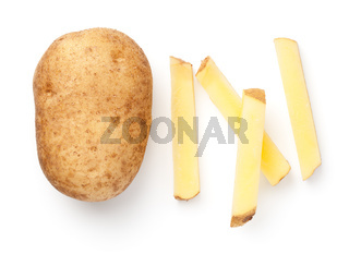 Fresh Raw Potato With French Fries Isolated
