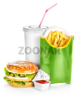 Sandwich with french fries isolated