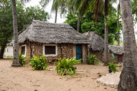 Zaramo style houses in the Watamu forest in southern Kenya in Africa