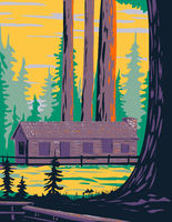 Mariposa Grove Cabin with General Grant and General Sheridan Tree Located in Yosemite National Park California United States of America WPA Poster Art