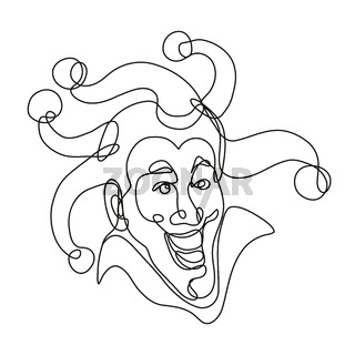 Medieval Court Jester Head Front View Continuous Line Drawing