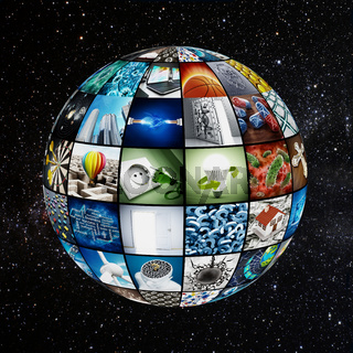 Globe covered with TV screens