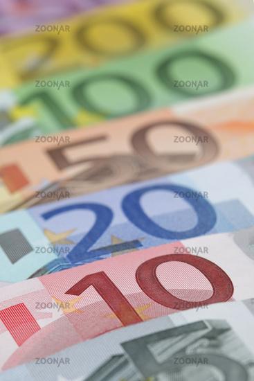 Euro banknotes, close-up