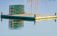 Lobster traps on a dock on Bailey Island, Maine, New England