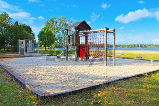 Senftenberger See Strand Niemtsch und Spielplatz im Lausitzer Seenland - Senftenberg Lake beach Niemtsch and playground, Lusatian Lake District