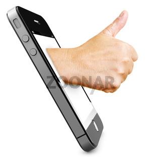 Daumen hoch im Handy