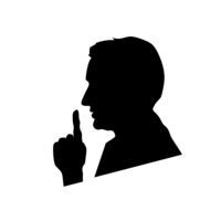 Black mans face profile, shhh icon on white, please keep quiet sign
