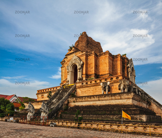 Buddhist temple Wat Chedi Luang. Chiang Mai