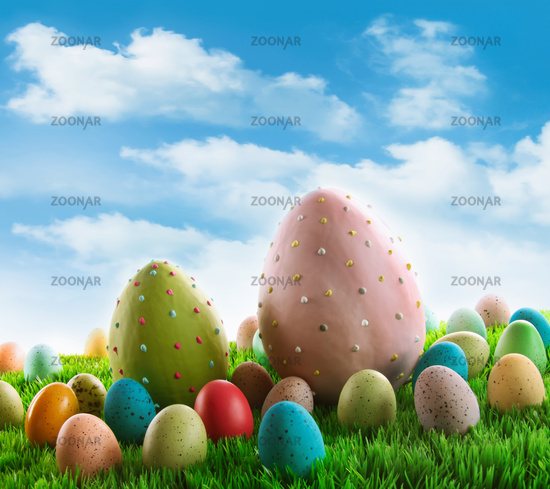 Decorated eggs in the grass