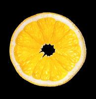 single slice of orange isolated on white